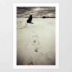 Winter landscape with dog  Art Print