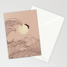 The great wave of black cat moonlight Stationery Cards