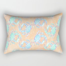 Crab orange blue nautical Rectangular Pillow