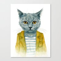 kitty Canvas Prints featuring Kitty by Leslie Evans