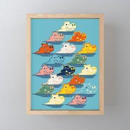 Happy Hippo Family Framed Mini Art Print