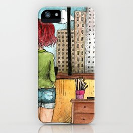 Artist's Room urban view from the window illustration iPhone Case