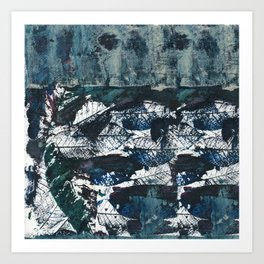 Bare bones in teal blue Art Print