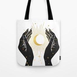 Gold La Lune In Hands Tote Bag