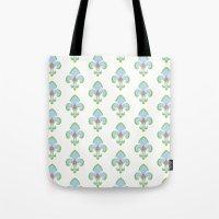 fleur de lis Tote Bags featuring Fleur de Lis Blue by Drape Studio