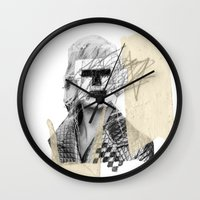 kate moss Wall Clocks featuring Kate Moss by FAMOUS WHEN DEAD