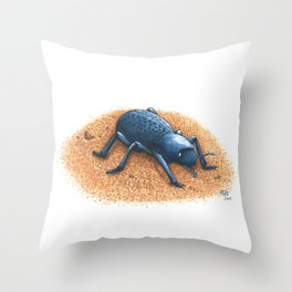 Blue Death Feigning Beetle Throw Pillow