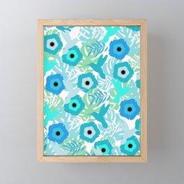 Hummingbirds in blue Framed Mini Art Print