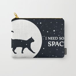 I need some space funny cat illustration with white stars and blue sky Carry-All Pouch