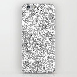 White Doodle Pattern iPhone Skin