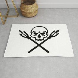 Human Skull Crossed Fishing Spear Mascot Rug
