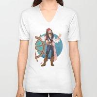 jack sparrow V-neck T-shirts featuring Captain Jack Sparrow by Lili's Damn Fine Shop