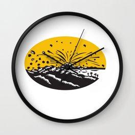 Volcanic Eruption Island Formation Oval Woodcut Wall Clock
