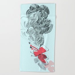 in red Beach Towel