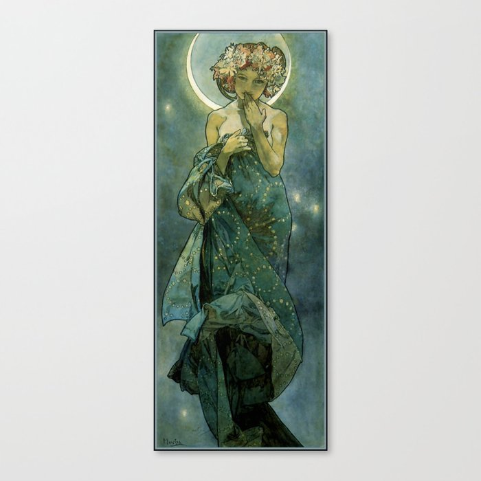 "Alphonse Mucha ""The Moon and the Stars Series: The Moon"" Leinwanddruck"