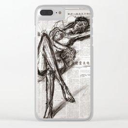 Brave - Charcoal on Newspaper Figure Drawing Clear iPhone Case