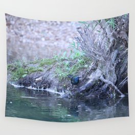 Black Bird At Water's Edge Wall Tapestry