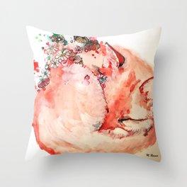Little fox sleeping Throw Pillow