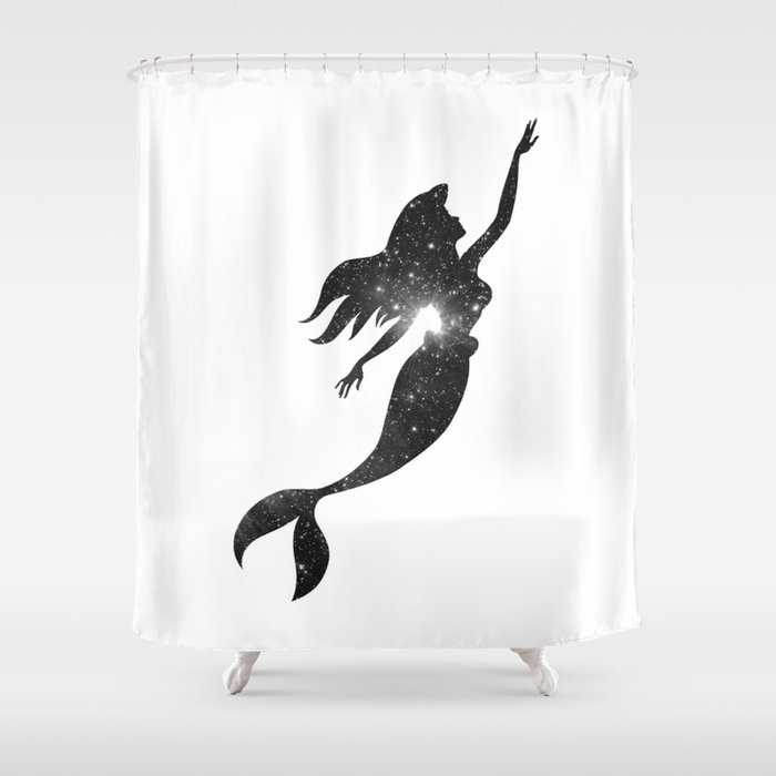The Little Mermaid Cosmic Black And White Shower Curtain
