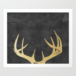 Gold Glitter Antlers Art Print
