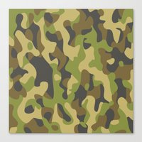 military Canvas Prints featuring Military Pattern by Crazy Thoom