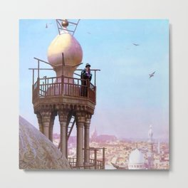 A Muezzin Calling from the Top of a Minaret the Faithful to Prayer by Jéan Leon Gerome Metal Print