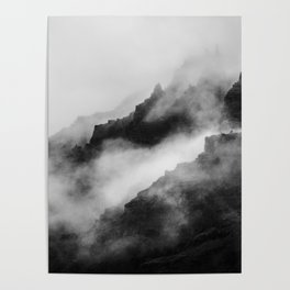 Foggy Mountains Black and White Poster
