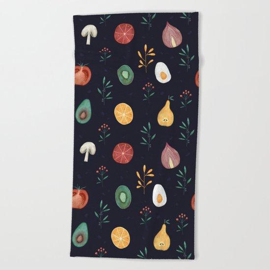 Vegetables pattern Beach Towel