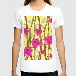 WHITE BUTTERFLIES & CERISE PINK ROSE THORN CANES YELLOW T-shirt