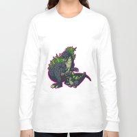 kaiju Long Sleeve T-shirts featuring Kaiju Senior Kaiju Junior by firestarterdesign