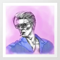 bowie Art Prints featuring Bowie  by Lucy Schmidt Art
