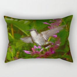 Hummingbird and pink agastache flower 44 Rectangular Pillow