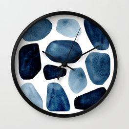 Blue Stones in Watercolor Wall Clock