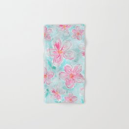 Hand painted teal fuchsia watercolor floral Hand & Bath Towel
