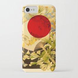 Japanese Ginkgo Hand Fan Vintage Illustration iPhone Case