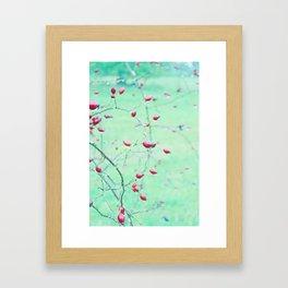 Red Berrys on light Green Ground Framed Art Print