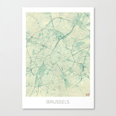 Brussels Map Blue Vintage Canvas Print