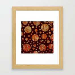 Orange Circles Against Dark Red Framed Art Print