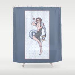 Bucky Pinup Shower Curtain