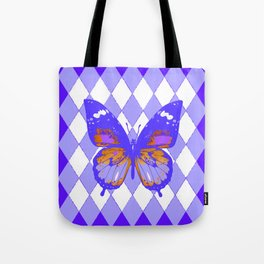 ABSTRACTED PURPLE BUTTERFLY  &  LILAC ARGYLE PATTERN Tote Bag