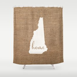 New Hampshire is Home - White on Burlap Shower Curtain