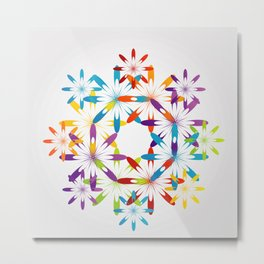 A large Colorful Christmas snowflake pattern- holiday season gifts- Happy new year gifts Metal Print