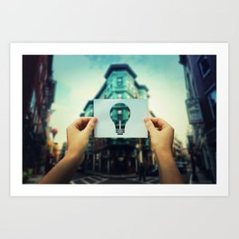 holding bulb icon Art Print