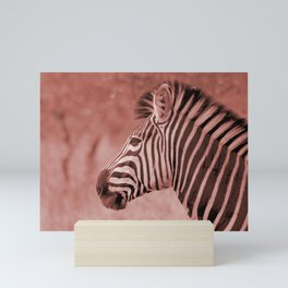 Zebra Up Close - Sepia Mini Art Print