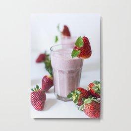 Strawberry mint milkshake Metal Print