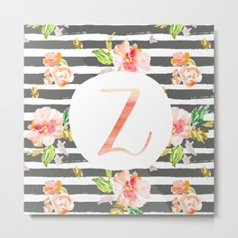 Z botanical monogram. Letter initial with colorful flowers and gray stripes Metal Print
