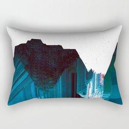Glitch Valley Blue Rectangular Pillow