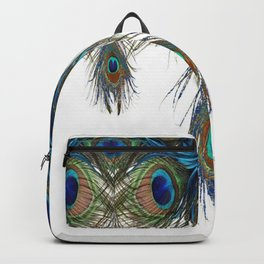BLUE-GREEN PEACOCK FEATHERS WHITE ART #2 Backpack