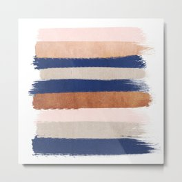 Stripes abstract minimalist painting bronze copper gold metallic stripe pattern decor nursery Metal Print