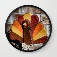turkey Wall Clocks featuring Turkey Day by IowaShots
